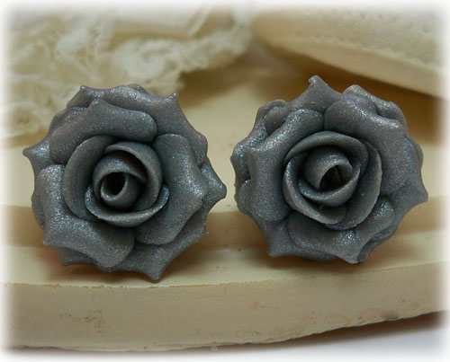 Metallic Silver Rose Stud Earrings