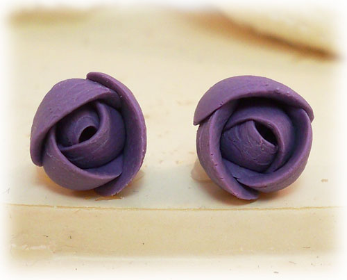 Purple Small Flower Bud Earrings