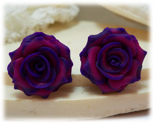 Pink-tipped Rose Earring Studs