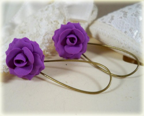 Purple Amethyst Rose Drop Earrings