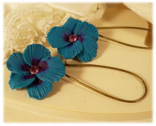 Blue Hawaii Hibiscus Earrings