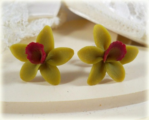Green Red Hawaii Orchid Stud Earrings