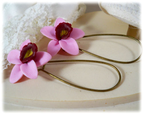 Pink Orchid Drop Earrings