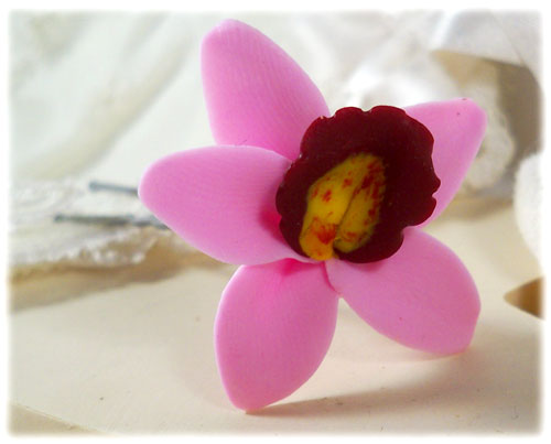 Pink Light Orchid Hair Pins