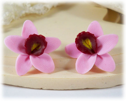 Pink Orchid Stud Earrings