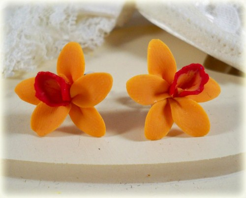 Orange Red Hawaiian Orchid Stud Earrings