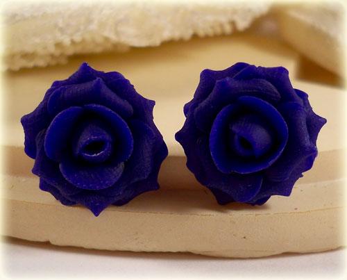 Blue Marine Rose Stud Earrings