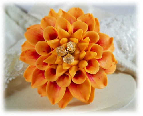 Orange Dahlia Brooch Pin