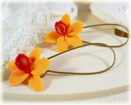 Orange Red Hawaiian Orchid Earrrings