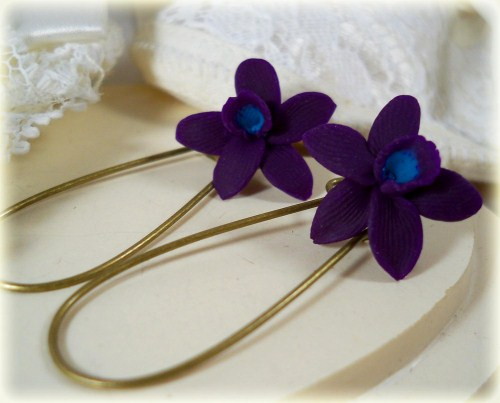 Purple Turquoise Hawaii Orchid Earrrings