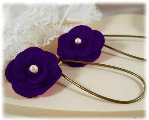 Purple Camellia Pearl Drop Earrings