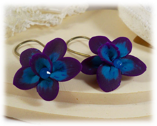 Purple Blue Crystal Orchid Earrings