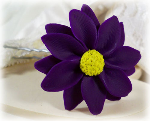Purple Daisy Hair Pins