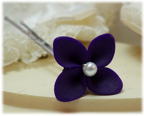 Purple Hydrangea Hair Pins