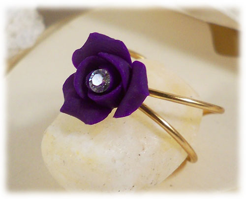 Purple Rosebud Crystal Ring