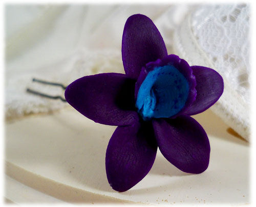 Purple Turquoise Orchid Hair Pins