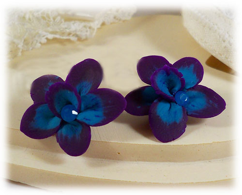 Purple Blue Crystal Orchid Stud Earrings