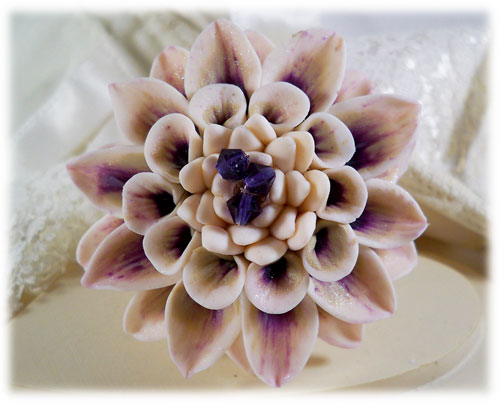 White Champagne Purple Dahlia Brooch Pin