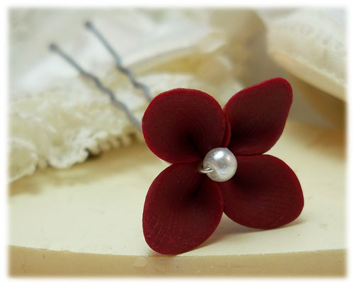 Red Hydrangea Hair Pins