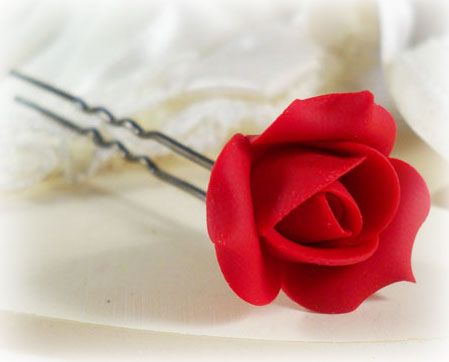 Rose Bud Hair Pins :  Rose Bud Mini Grip Pins : Rose Bud  for Hair