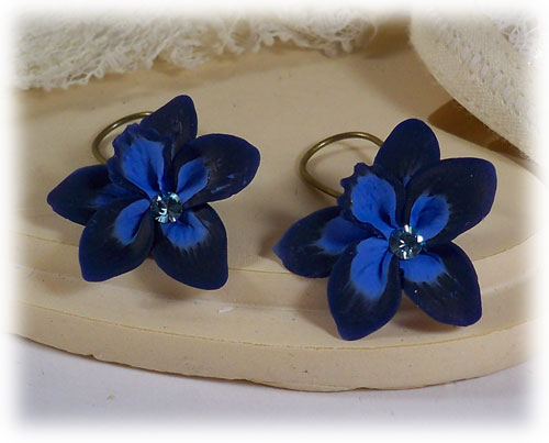 Navy Sapphire Crystal Orchid Earrings