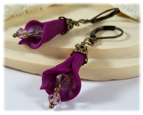 Purple Heart Calla Lilies Earrings