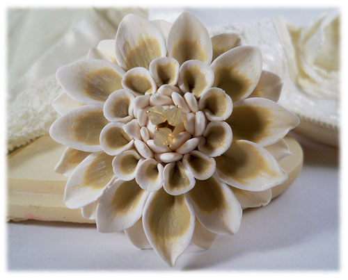 White Champagne Dahlia Brooch Pin