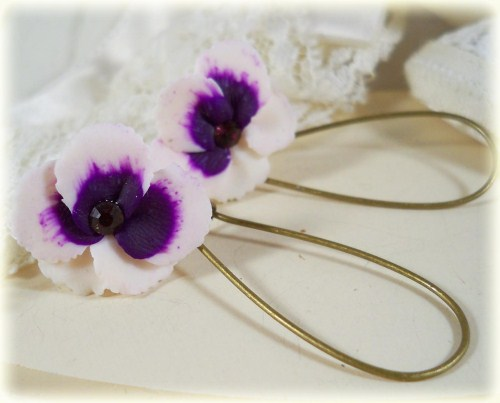White Purple Crystal Pansy Drop Earrings