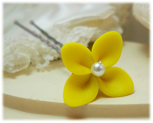 Yellow Hydrangea Hair Pins