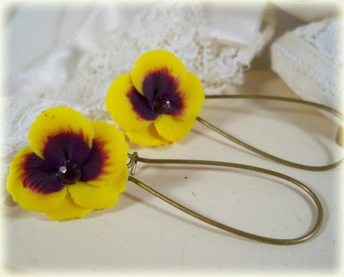 Yellow Purple Crystal Pansy Drop Earrings