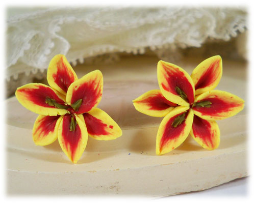 Yellow Red Lily Stud Earrings